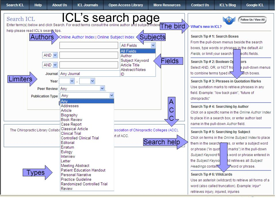 AuthorsSubjects Fields Limiters Types Search help The bird ACCACC ICL's search page