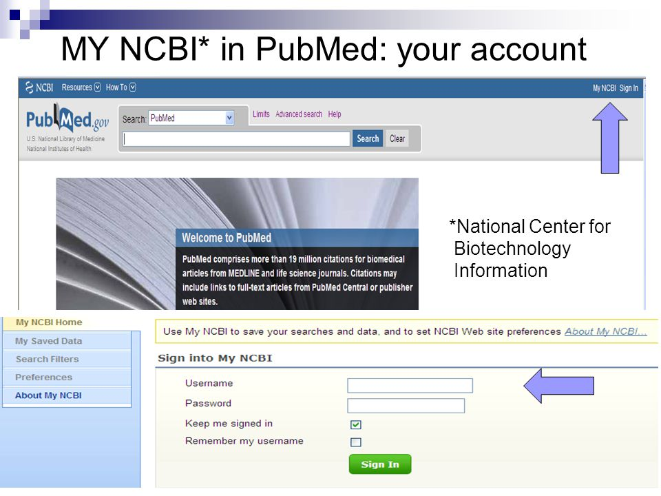 MY NCBI* in PubMed: your account *National Center for Biotechnology Information