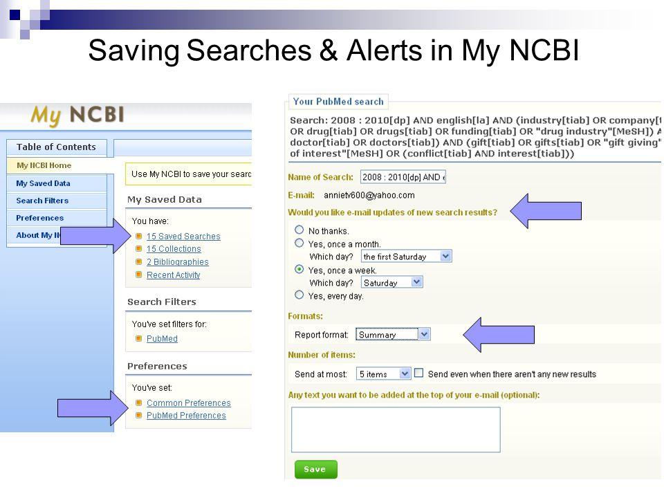Saving Searches & Alerts in My NCBI