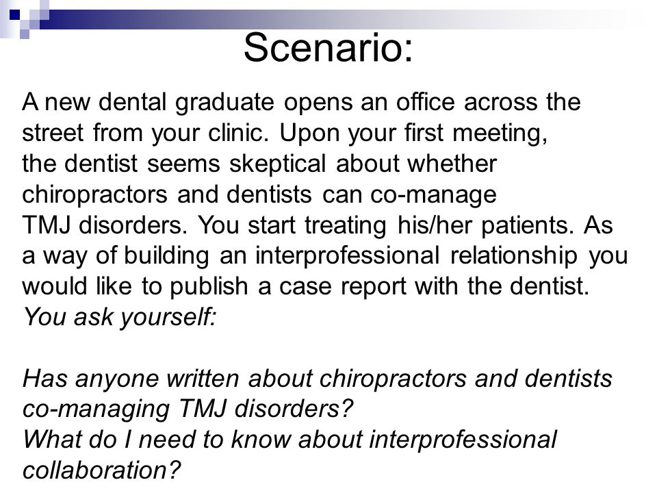 Scenario: A new dental graduate opens an office across the street from your clinic. Upon your first meeting, the dentist seems skeptical about whether