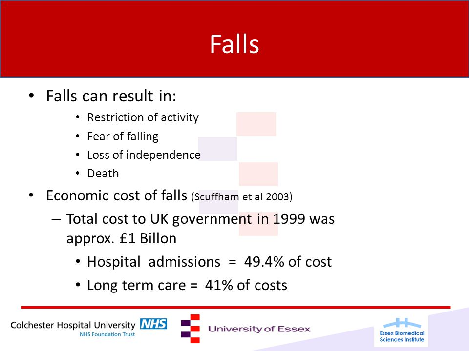 Falls Falls can result in: Restriction of activity Fear of falling Loss of independence Death Economic cost of falls (Scuffham et al 2003) – Total cost to UK government in 1999 was approx.