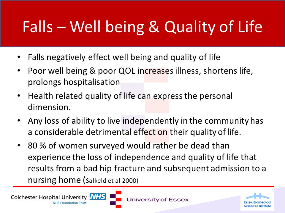 Falls – Well being & Quality of Life Falls negatively effect well being and quality of life Poor well being & poor QOL increases illness, shortens life, prolongs hospitalisation Health related quality of life can express the personal dimension.