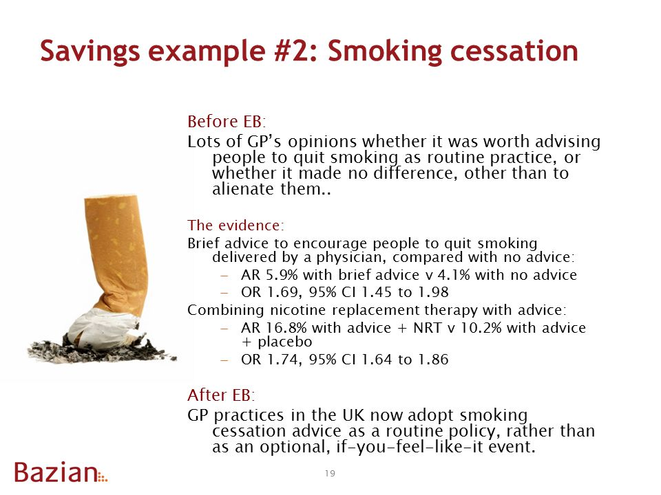 Savings example #2: Smoking cessation Before EB: Lots of GP's opinions whether it was worth advising people to quit smoking as routine practice, or whether it made no difference, other than to alienate them..