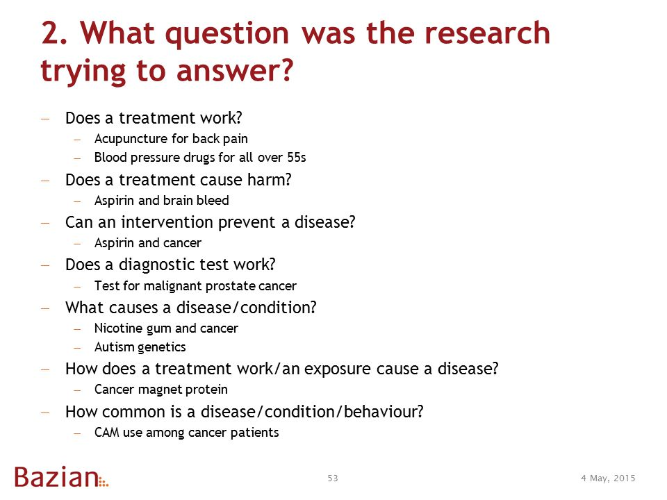 2. What question was the research trying to answer.