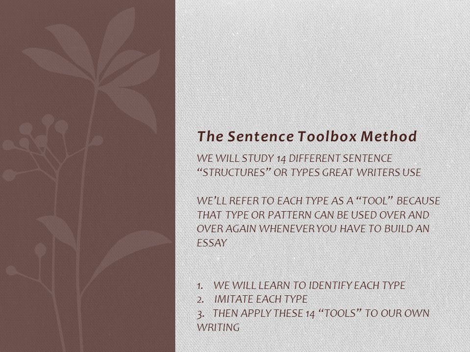 The Sentence Toolbox Method WE WILL STUDY 14 DIFFERENT SENTENCE STRUCTURES OR TYPES GREAT WRITERS USE WE'LL REFER TO EACH TYPE AS A TOOL BECAUSE THAT TYPE OR PATTERN CAN BE USED OVER AND OVER AGAIN WHENEVER YOU HAVE TO BUILD AN ESSAY 1.