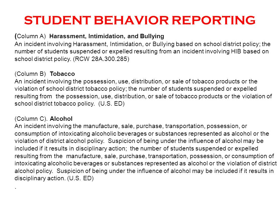 ( Column A) Harassment, Intimidation, and Bullying An incident involving Harassment, Intimidation, or Bullying based on school district policy; the nu