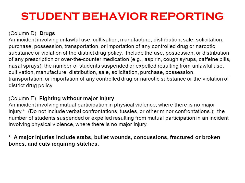 STUDENT BEHAVIOR REPORTING (Column D) Drugs An incident involving unlawful use, cultivation, manufacture, distribution, sale, solicitation, purchase,