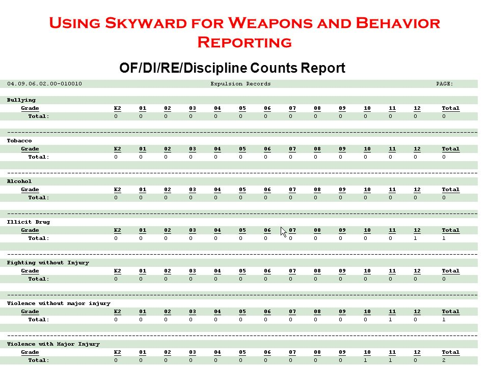 Using Skyward for Weapons and Behavior Reporting OF/DI/RE/Discipline Counts Report