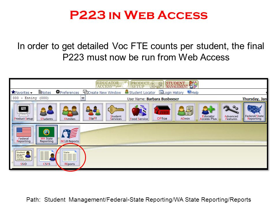 P223 in Web Access In order to get detailed Voc FTE counts per student, the final P223 must now be run from Web Access Path: Student Management/Federa