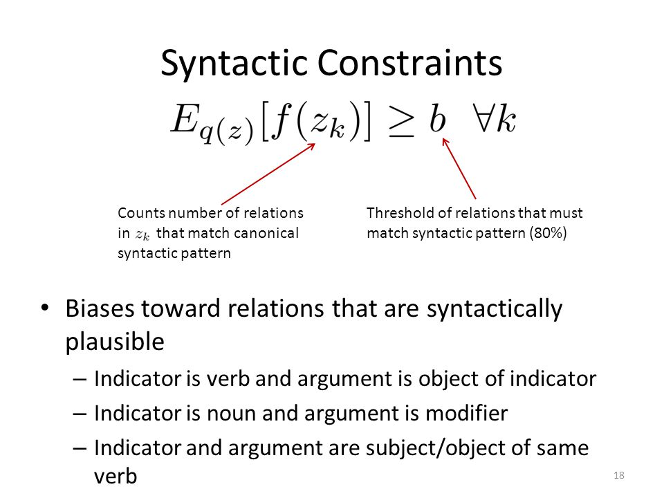 Syntactic Constraints 18 Counts number of relations in that match canonical syntactic pattern Biases toward relations that are syntactically plausible – Indicator is verb and argument is object of indicator – Indicator is noun and argument is modifier – Indicator and argument are subject/object of same verb Threshold of relations that must match syntactic pattern (80%)