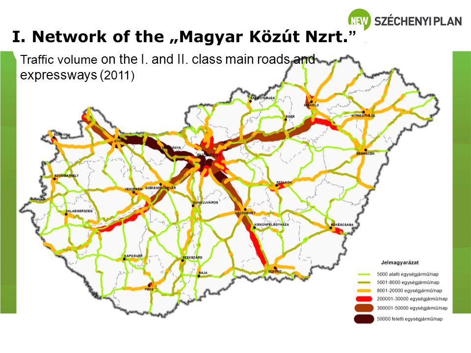 "I.Network of the ""Magyar Közút Nzrt. Traffic volume of tracks on the I."