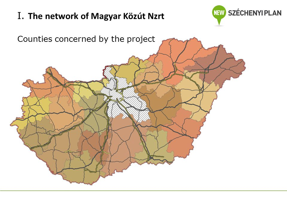 I. The network of Magyar Közút Nzrt Counties concerned by the project