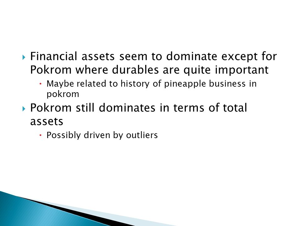 Financial assets seem to dominate except for Pokrom where durables are quite important  Maybe related to history of pineapple business in pokrom  Pokrom still dominates in terms of total assets  Possibly driven by outliers