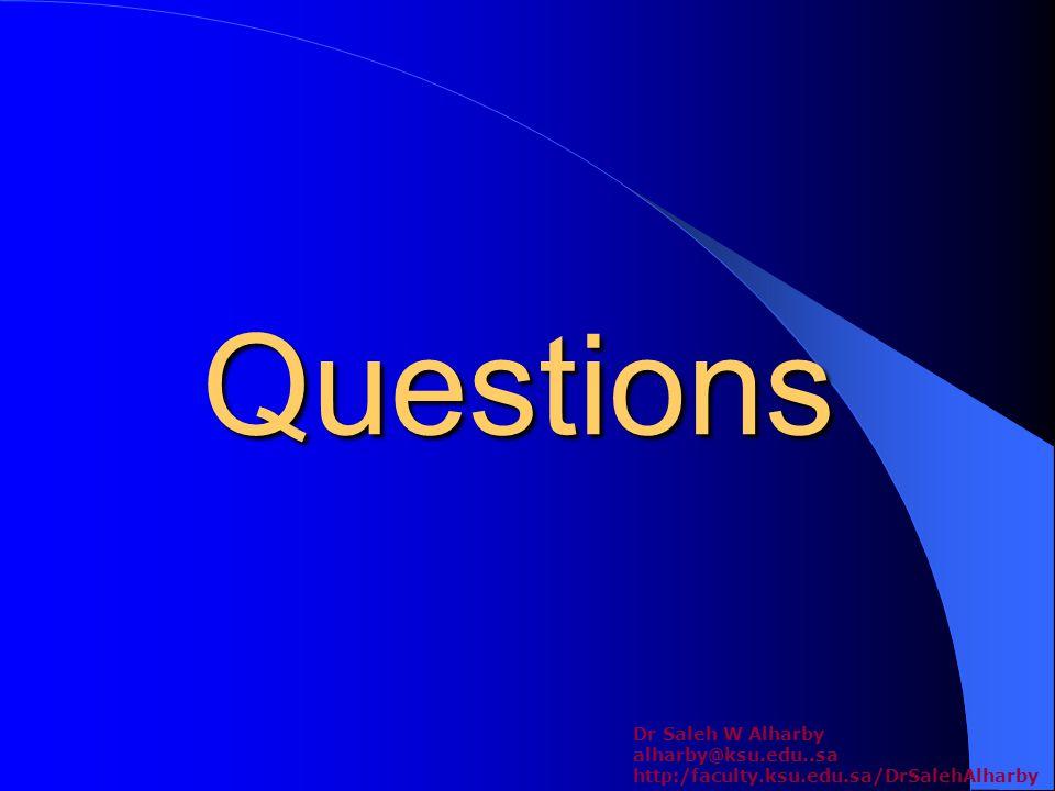Questions Dr Saleh W Alharby alharby@ksu.edu..sa http:/faculty.ksu.edu.sa/DrSalehAlharby