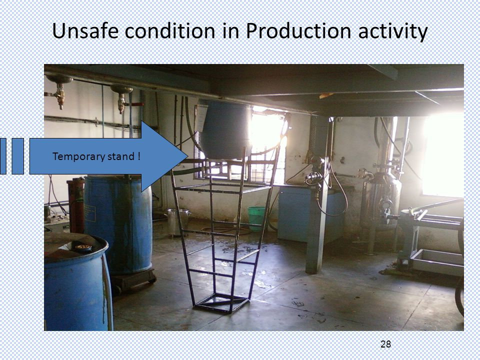 28 Unsafe condition in Production activity Temporary stand !