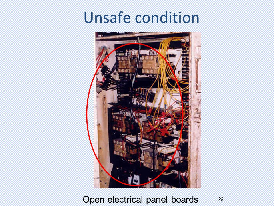 29 Unsafe condition Open electrical panel boards
