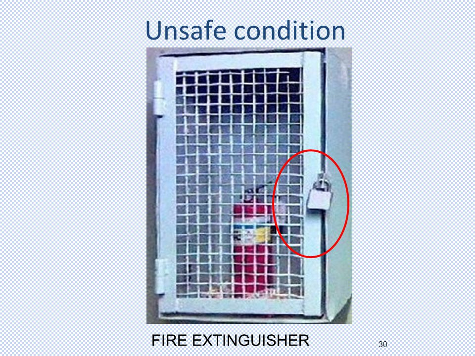 30 Unsafe condition FIRE EXTINGUISHER