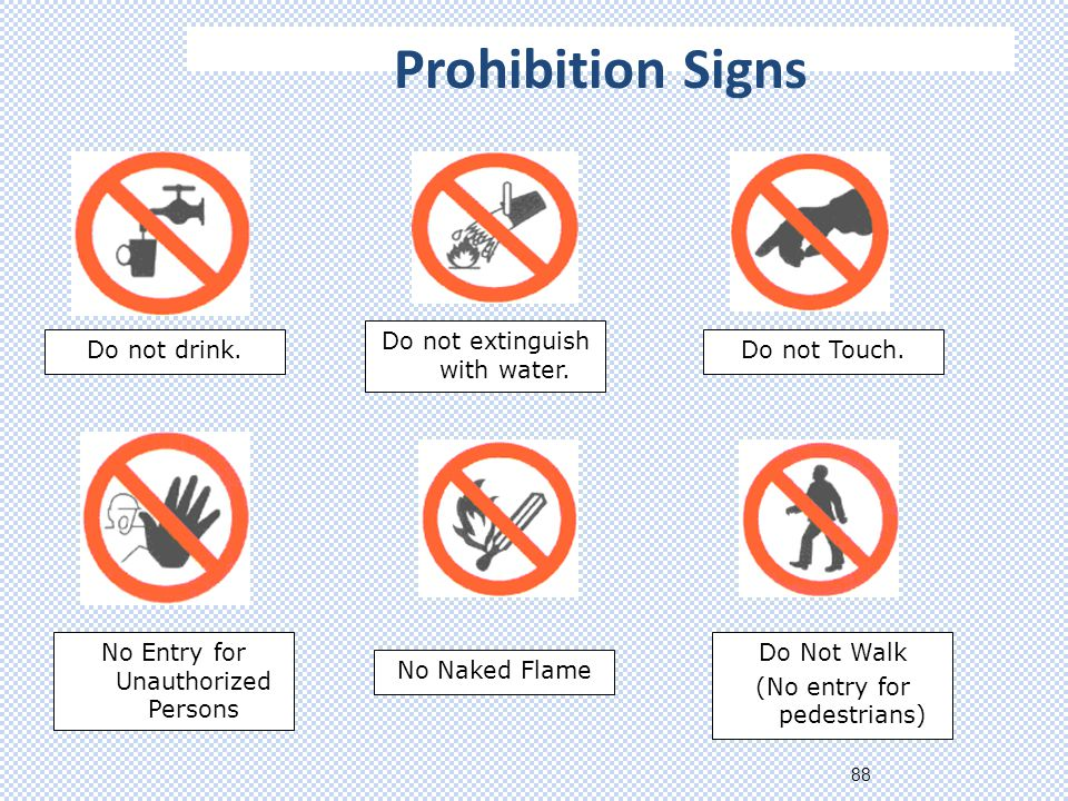 88 Prohibition Signs Do not drink.Do not extinguish with water.