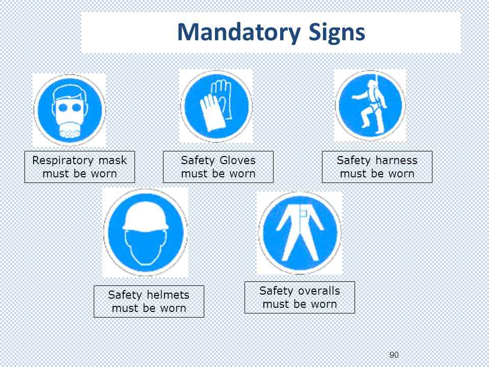 90 Respiratory mask must be worn Safety Gloves must be worn Safety harness must be worn Safety helmets must be worn Safety overalls must be worn Mandatory Signs