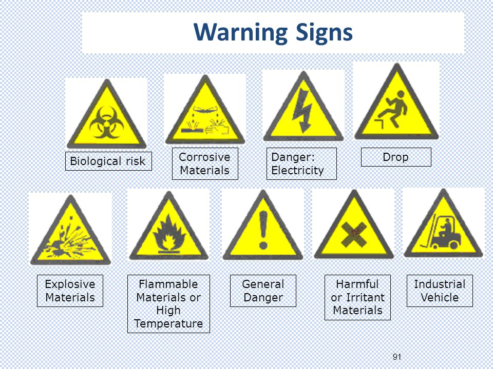 91 Biological risk Corrosive Materials Danger: Electricity Drop Explosive Materials Flammable Materials or High Temperature General Danger Harmful or Irritant Materials Industrial Vehicle Warning Signs