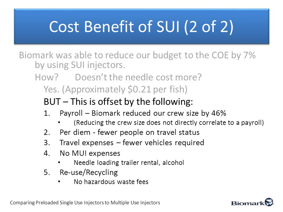 Cost Benefit of SUI (2 of 2) Biomark was able to reduce our budget to the COE by 7% by using SUI injectors.