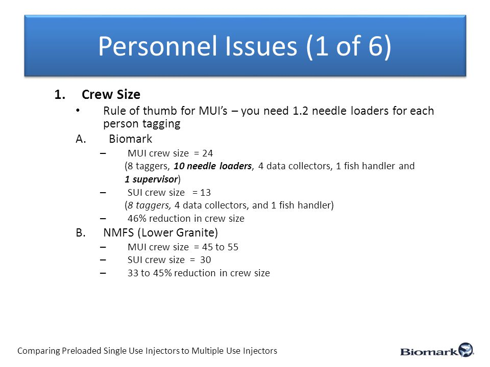 Personnel Issues (1 of 6) 1.Crew Size Rule of thumb for MUI's – you need 1.2 needle loaders for each person tagging A.