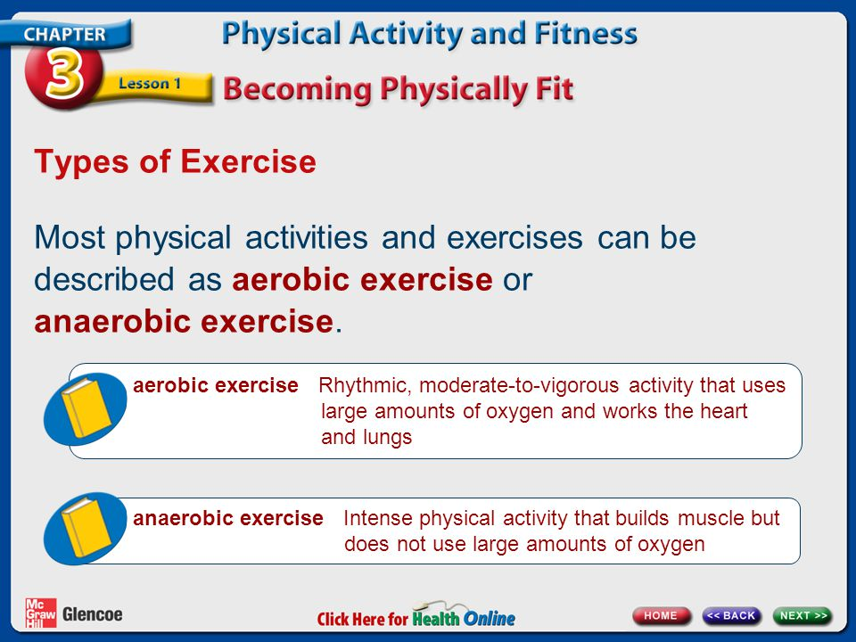 Types of Exercise Most physical activities and exercises can be described as aerobic exercise or anaerobic exercise.
