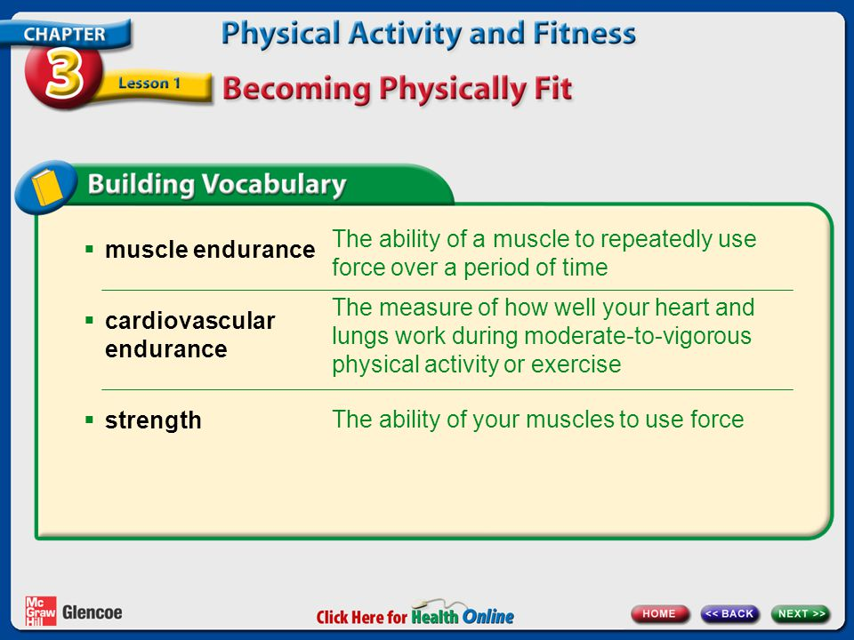  muscle endurance  cardiovascular endurance  strength The ability of a muscle to repeatedly use force over a period of time The measure of how well