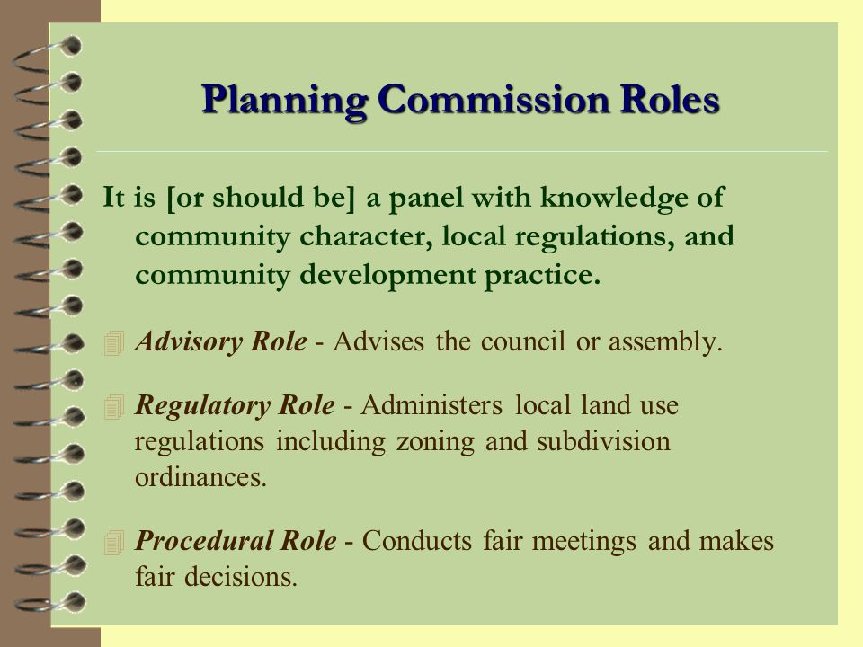 HOW A PLANNING COMMISSION OPERATES