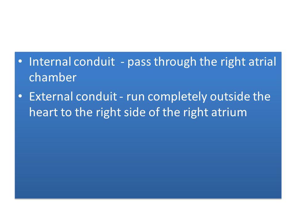 Internal conduit - pass through the right atrial chamber External conduit - run completely outside the heart to the right side of the right atrium Int