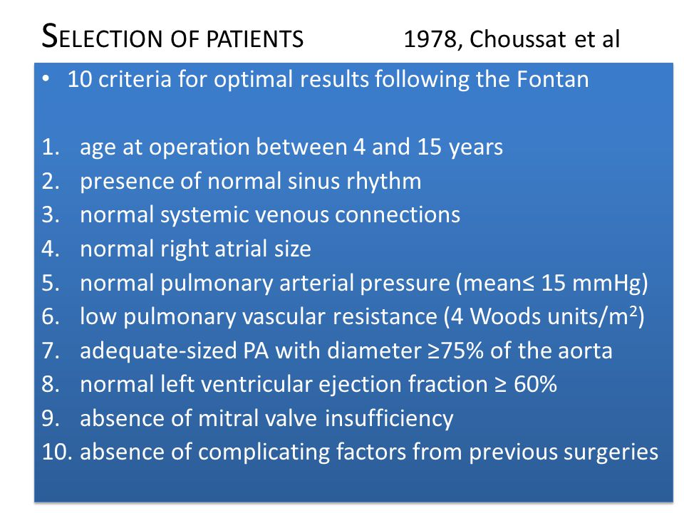Heart failure Heart failure–related deaths occurred at a mean age of 22.9 4.3 years after Fontan surgery Actuarial freedom from death caused by heart failure was 99.5% at 10 yrs and 95.8% at 25 yrs Risk factors were single RV morphology, higher postoperative RA pressure, and protein-losing enteropathy.
