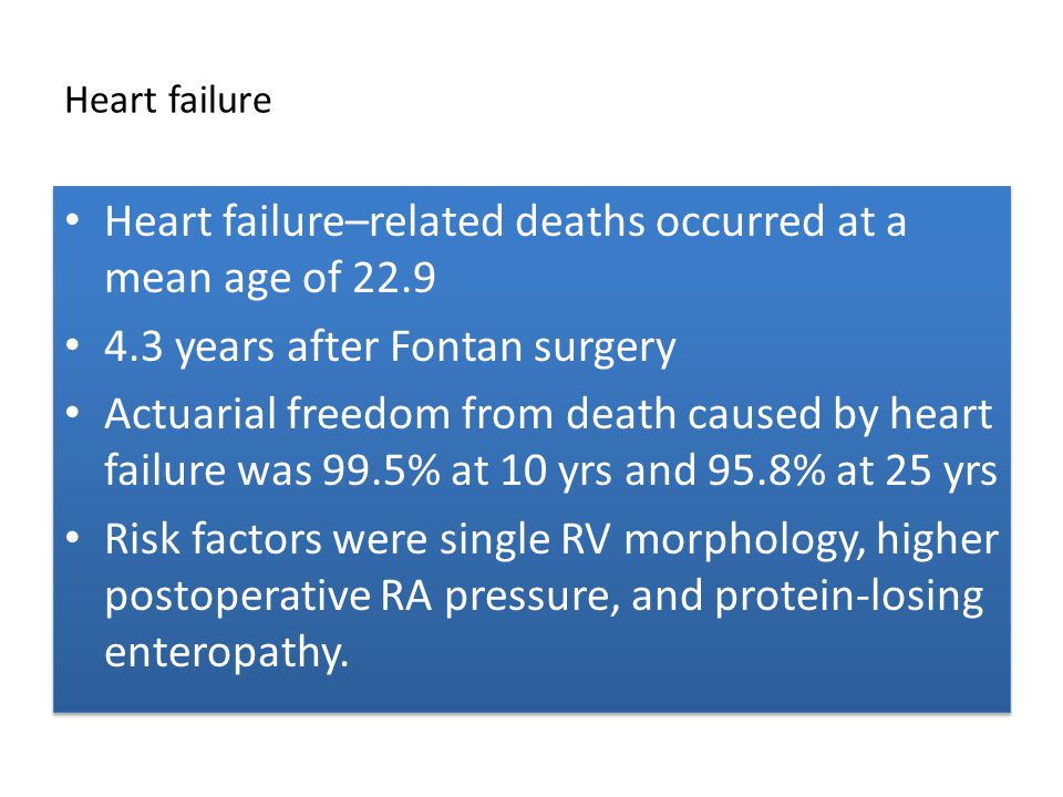 Heart failure Heart failure–related deaths occurred at a mean age of 22.9 4.3 years after Fontan surgery Actuarial freedom from death caused by heart