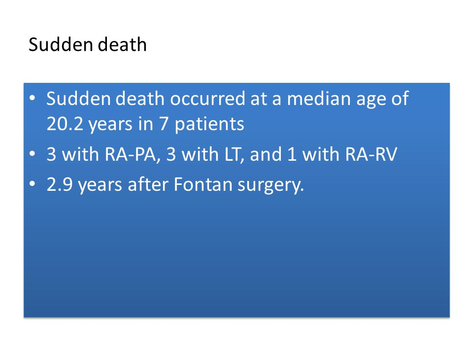 Sudden death Sudden death occurred at a median age of 20.2 years in 7 patients 3 with RA-PA, 3 with LT, and 1 with RA-RV 2.9 years after Fontan surger