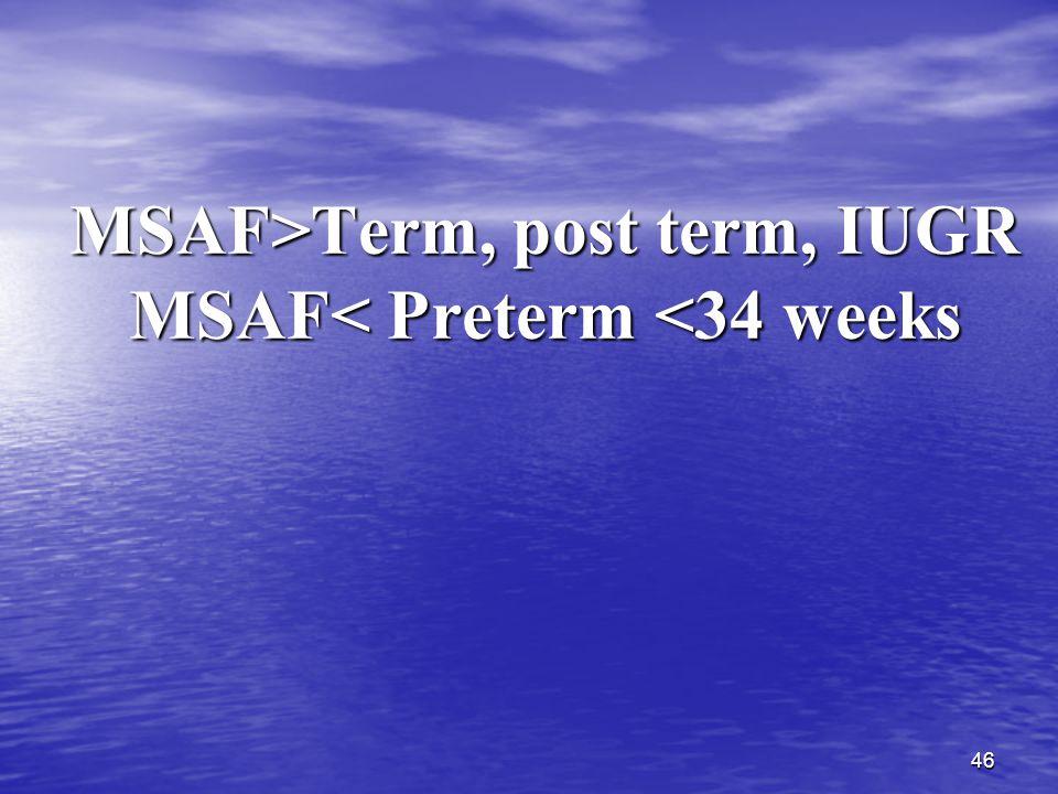 46 MSAF>Term, post term, IUGR MSAF Term, post term, IUGR MSAF< Preterm <34 weeks