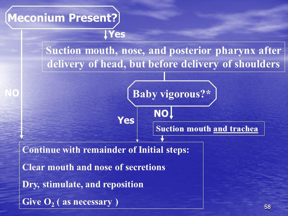 58 Meconium Present.