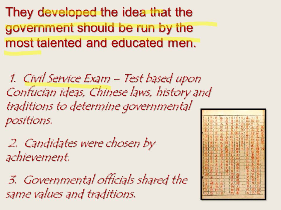 They developed the idea that the government should be run by the most talented and educated men.