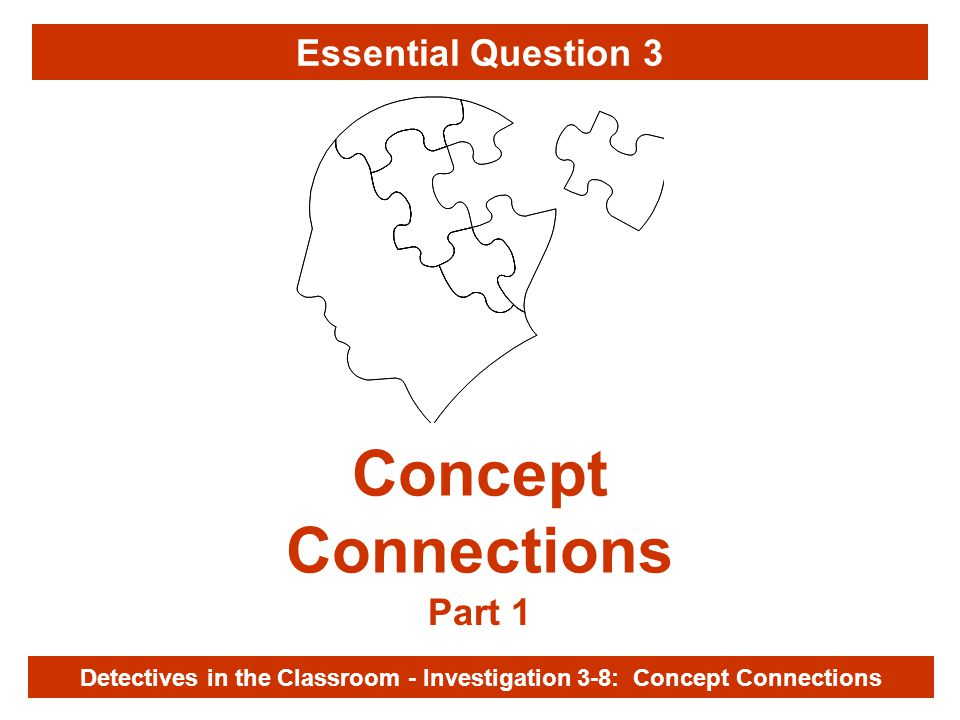 Investigation 3-8 Concept Connections Part 1 Detectives in the Classroom - Investigation 3-8: Concept Connections Essential Question 3
