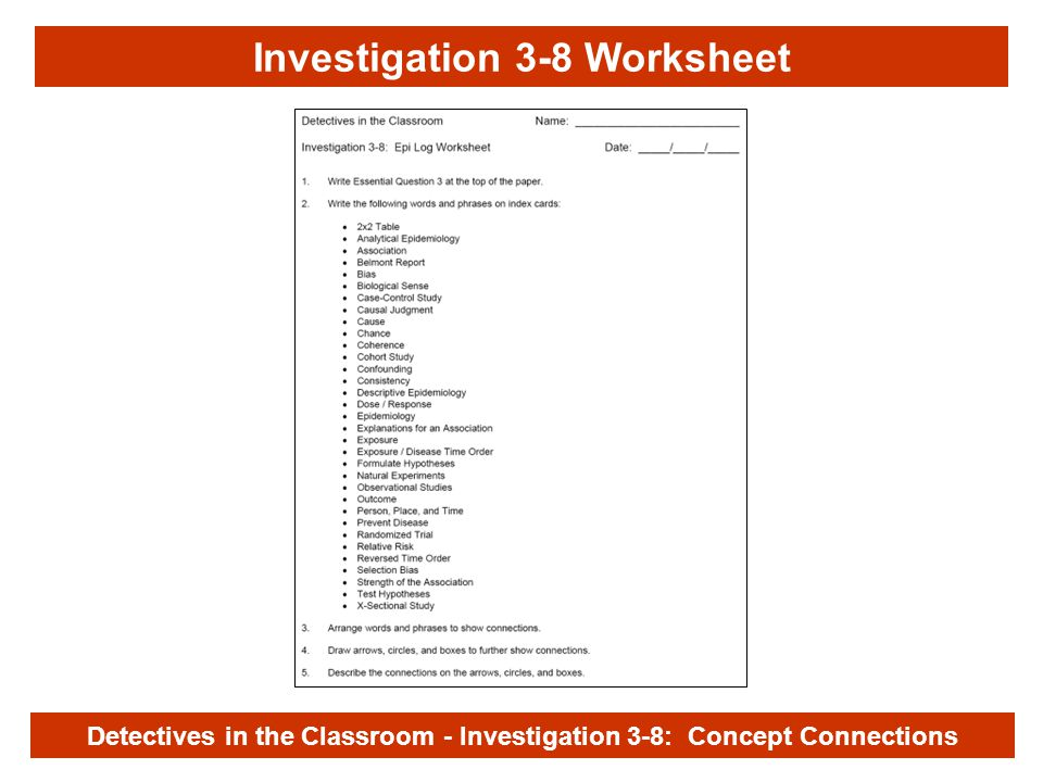 Investigation 3-8 Detectives in the Classroom - Investigation 3-8: Concept Connections Investigation 3-8 Worksheet