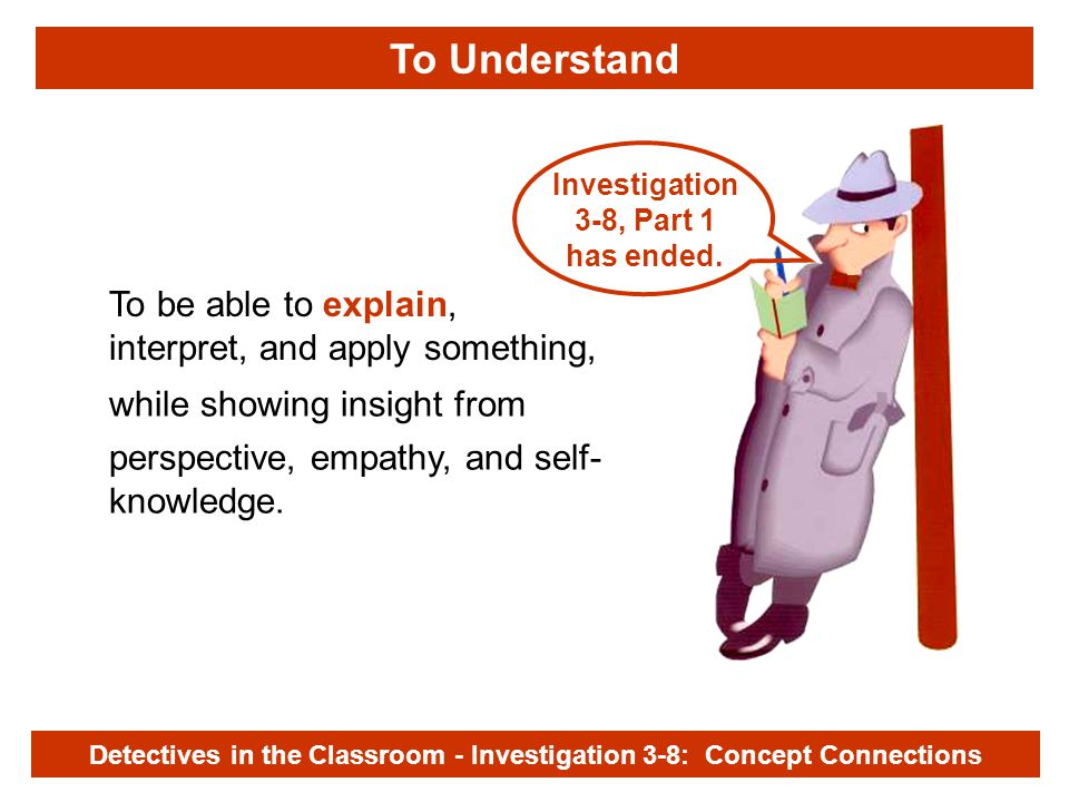 Investigation 3-8 while showing insight from To be able to explain, interpret, and apply something, perspective, empathy, and self- knowledge.