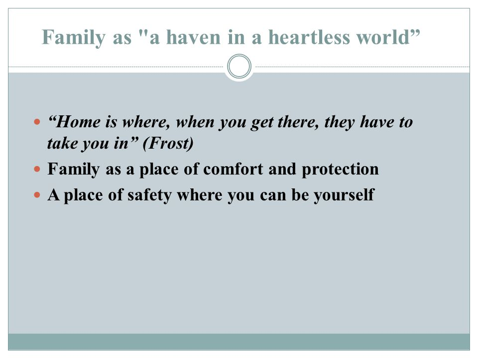 Family as the center of conflict The aspect of family that is most uncomfortable for us to recognize and accept.