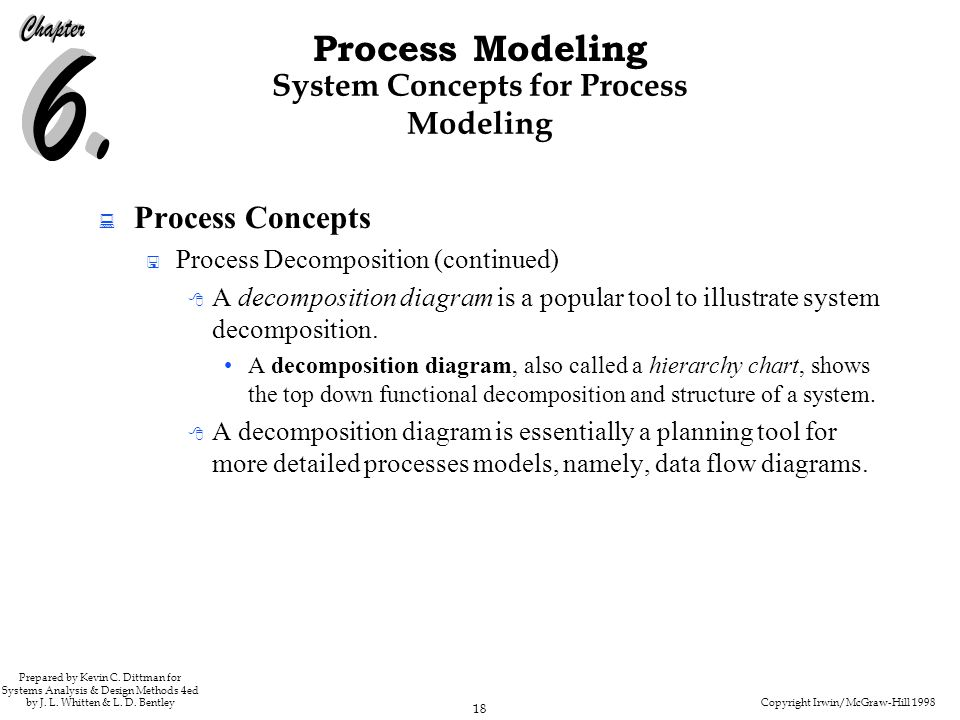 Copyright Irwin/McGraw-Hill 1998 18 Process Modeling Prepared by Kevin C. Dittman for Systems Analysis & Design Methods 4ed by J. L. Whitten & L. D. B