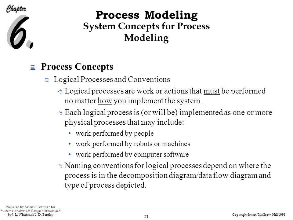 Copyright Irwin/McGraw-Hill 1998 21 Process Modeling Prepared by Kevin C. Dittman for Systems Analysis & Design Methods 4ed by J. L. Whitten & L. D. B