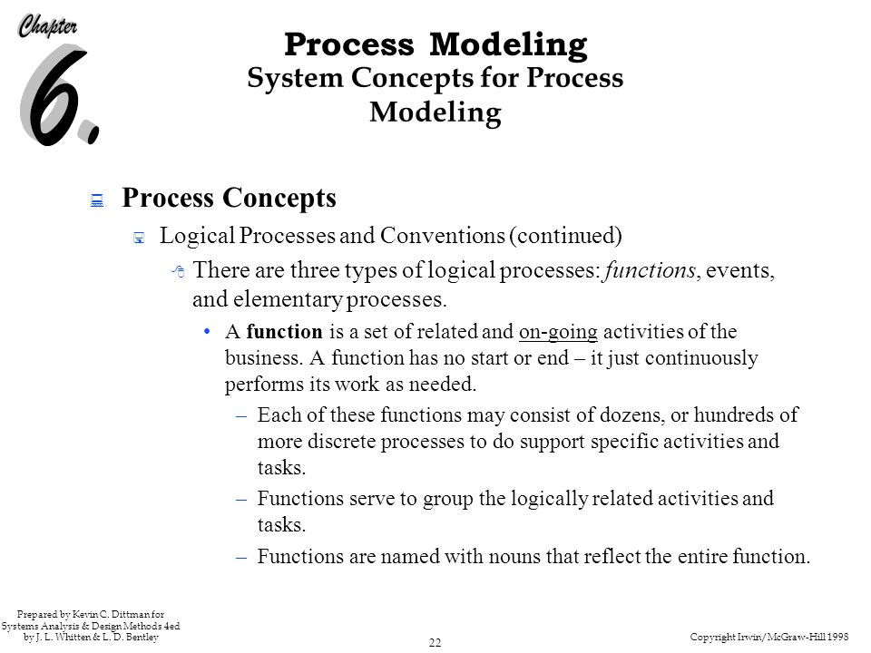 Copyright Irwin/McGraw-Hill 1998 22 Process Modeling Prepared by Kevin C. Dittman for Systems Analysis & Design Methods 4ed by J. L. Whitten & L. D. B