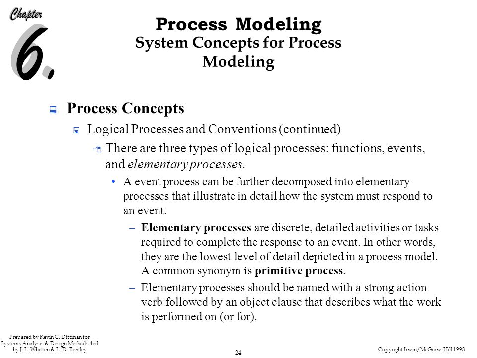 Copyright Irwin/McGraw-Hill 1998 24 Process Modeling Prepared by Kevin C. Dittman for Systems Analysis & Design Methods 4ed by J. L. Whitten & L. D. B