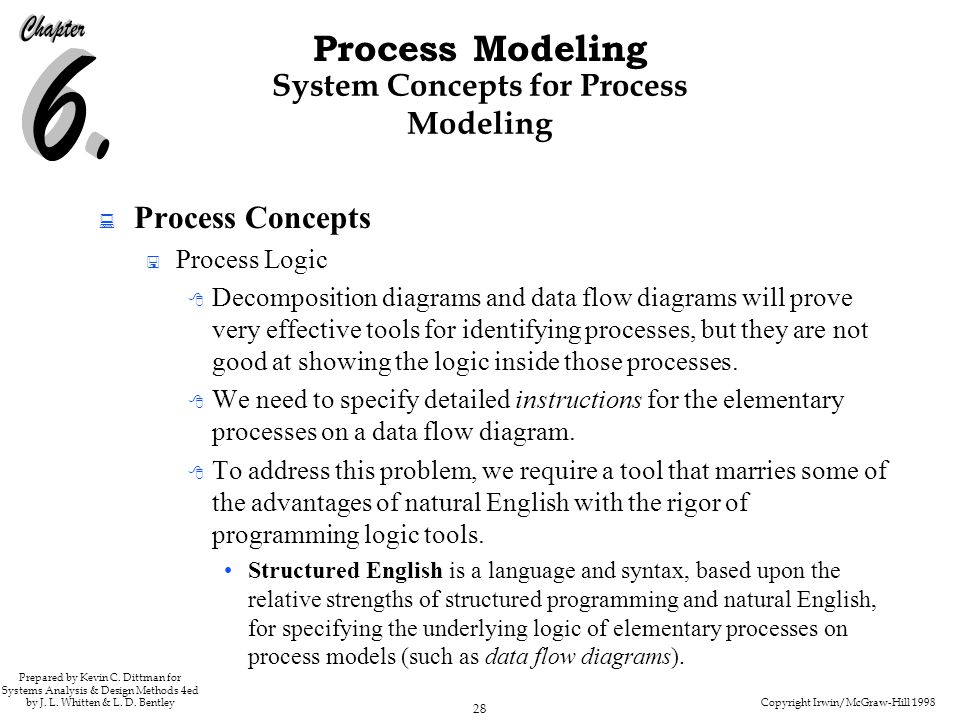 Copyright Irwin/McGraw-Hill 1998 28 Process Modeling Prepared by Kevin C. Dittman for Systems Analysis & Design Methods 4ed by J. L. Whitten & L. D. B