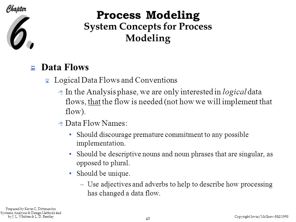Copyright Irwin/McGraw-Hill 1998 45 Process Modeling Prepared by Kevin C. Dittman for Systems Analysis & Design Methods 4ed by J. L. Whitten & L. D. B