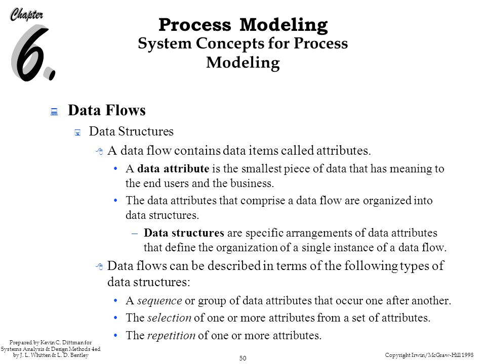 Copyright Irwin/McGraw-Hill 1998 50 Process Modeling Prepared by Kevin C. Dittman for Systems Analysis & Design Methods 4ed by J. L. Whitten & L. D. B
