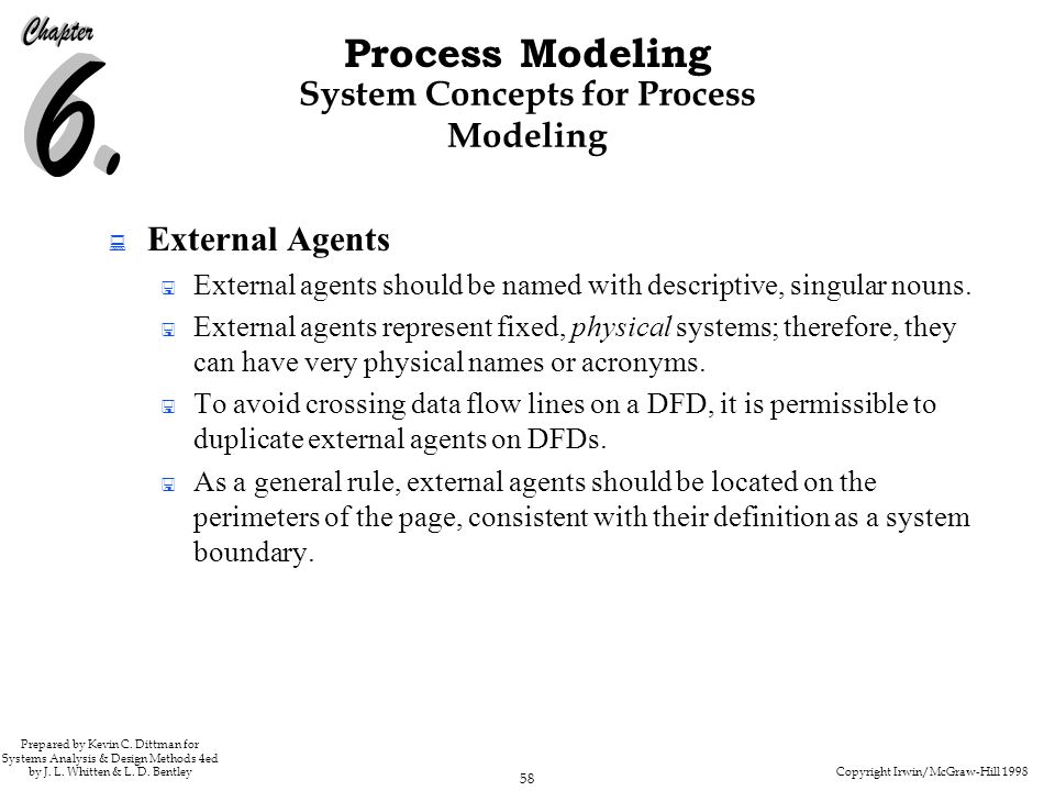 Copyright Irwin/McGraw-Hill 1998 58 Process Modeling Prepared by Kevin C. Dittman for Systems Analysis & Design Methods 4ed by J. L. Whitten & L. D. B