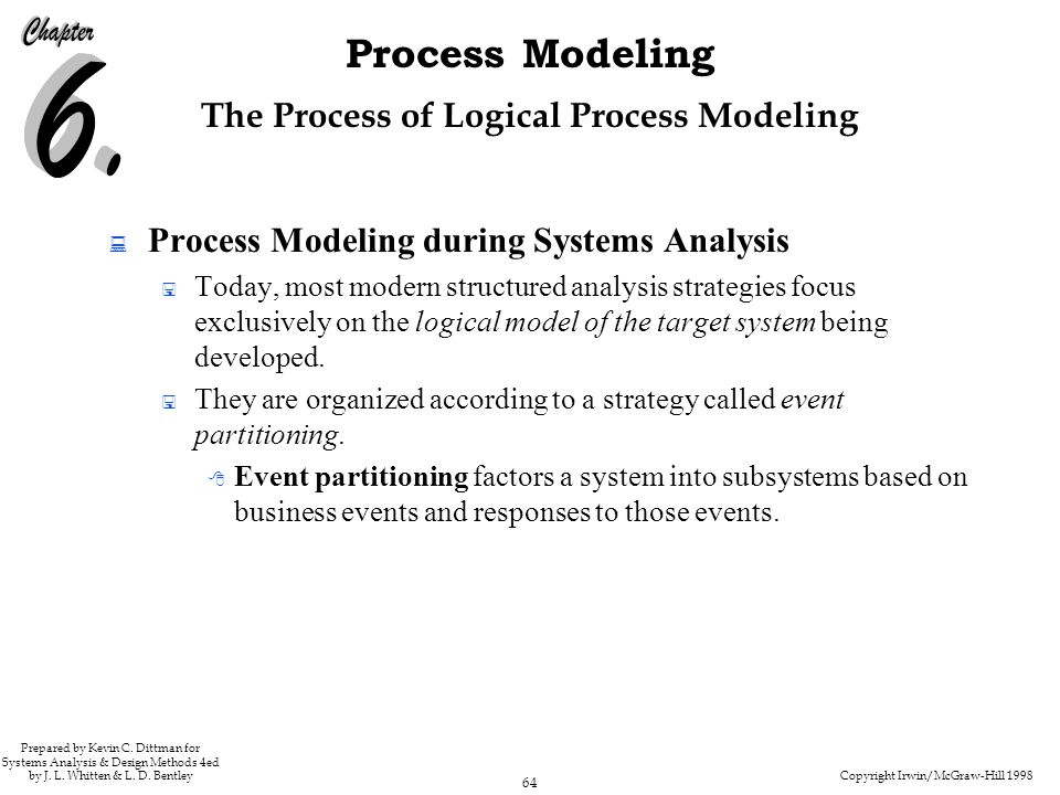 Copyright Irwin/McGraw-Hill 1998 64 Process Modeling Prepared by Kevin C. Dittman for Systems Analysis & Design Methods 4ed by J. L. Whitten & L. D. B