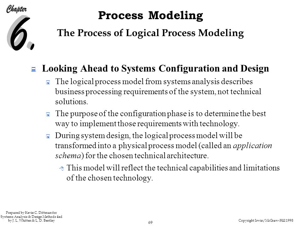 Copyright Irwin/McGraw-Hill 1998 69 Process Modeling Prepared by Kevin C. Dittman for Systems Analysis & Design Methods 4ed by J. L. Whitten & L. D. B